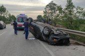 Kestel'deki Kazada Aydınlatma Direği ve Ağacı Yerinden Sökerek Takla Attı: 1 Yaralı